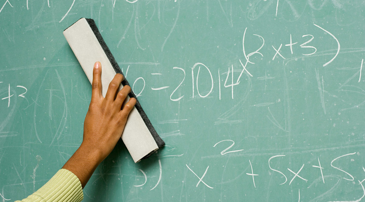 Photo of cleaning chalkboard by XiXinXing via iStock