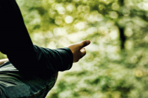 Photo of meditation pose in woods by Mitchell-Joyce via Flickr