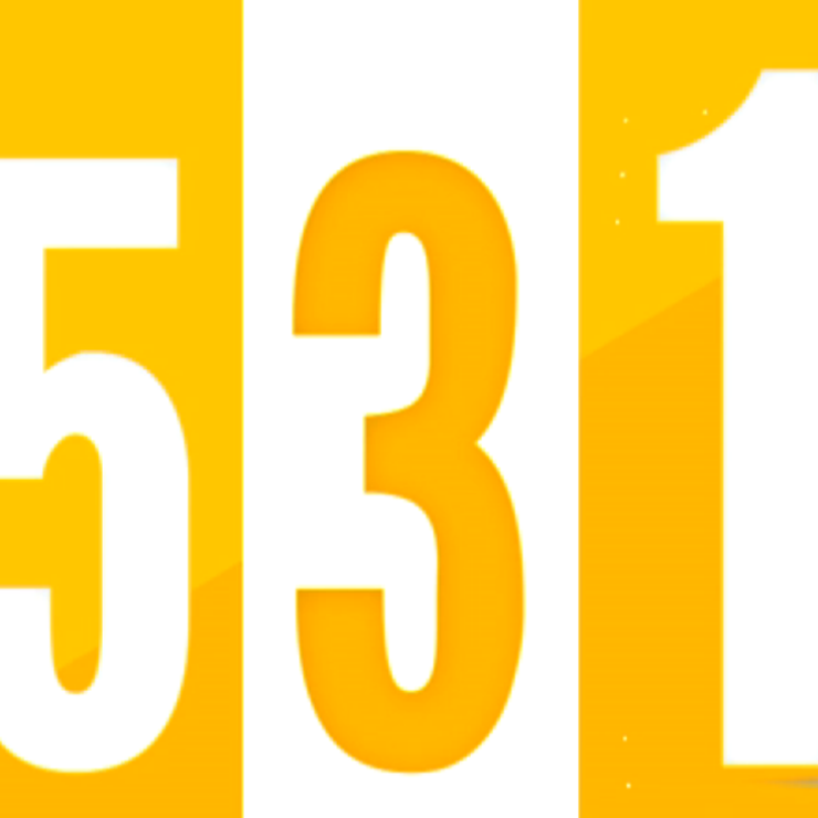 "The numbers ""5 3 1"" on a yellow background"