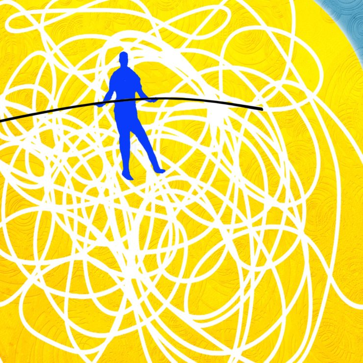 Silhouette of a head colored yellow with a person holding a tight rope in the brain region to demonstrate what we do and don't know about what meditation can do for you.