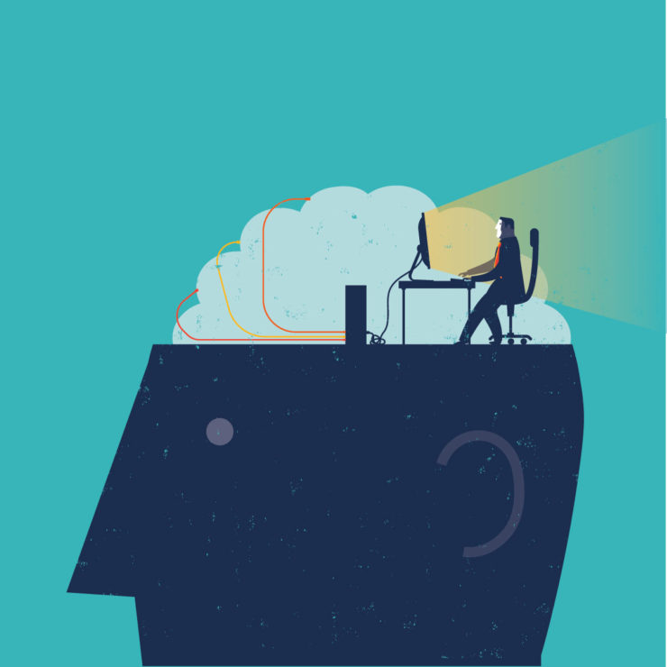 Illustration of person with a person sitting at a computer on top of the head to demonstrate practicing mindfulness at work