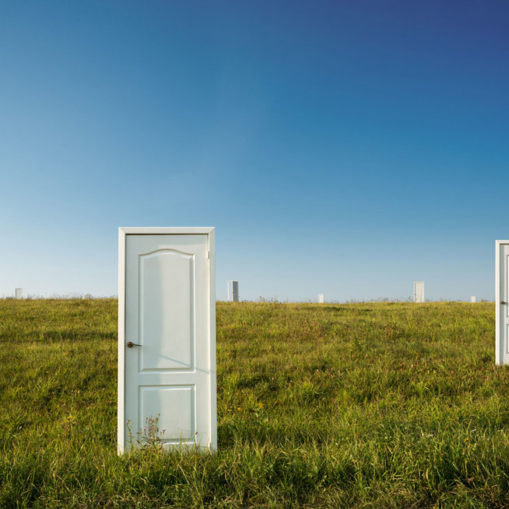 Doors On A Landscape As A Metaphor For Choosing A Path