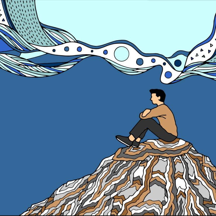 Illustration Of A Person Focusing On Their Current Surroundings