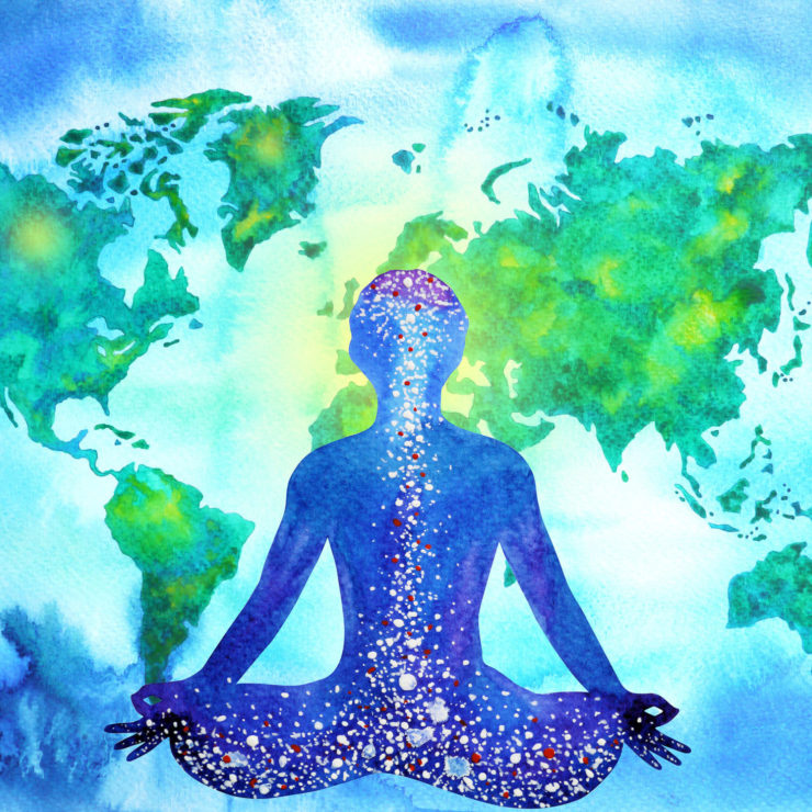 Illustration Of A Person Meditating While Considering The Global Impact