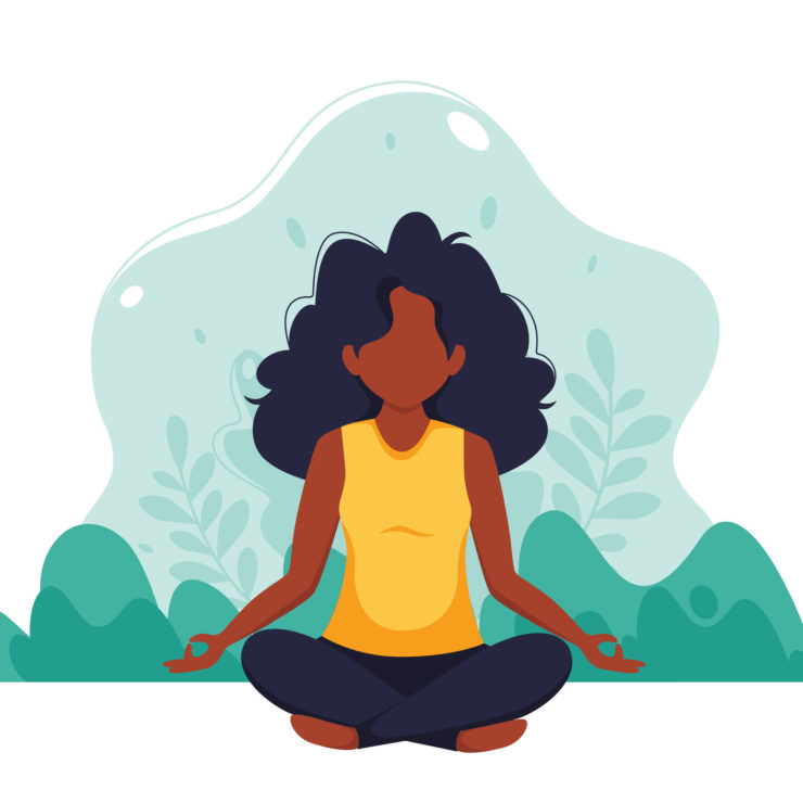 Illustration Of Woman Meditating In Nature