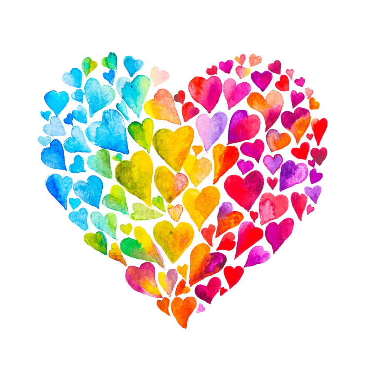 Several Hearts In The Shape Of A Multicolored Heart