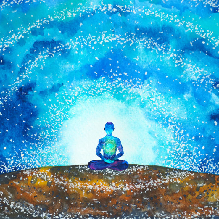 Watercolor Painting Of A Person Meditating