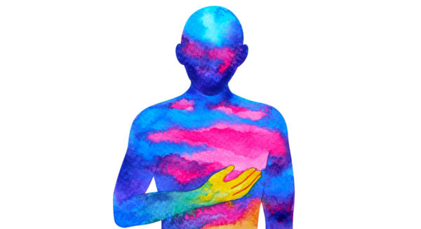 A Human Painted In Watercolor Holding A Hand Over Heart To Demonstrate The Link Between Stress In The Body And In The Mind