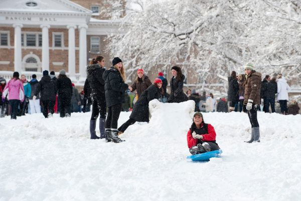 Students Enjoying The Snow At Uw Madison