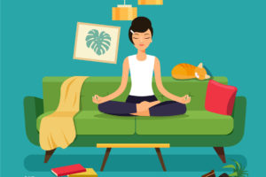Illustration Of A Student Meditating On Her Couch